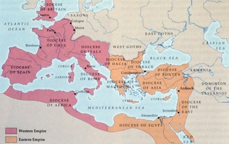 A map showing the two empires of Ancient Romans mostly populated around the Mediterranean countries.