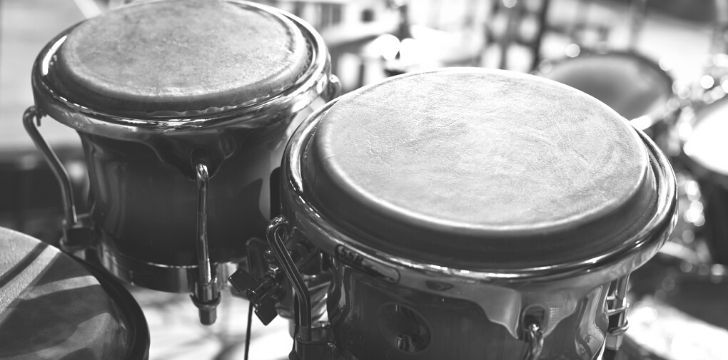 A greyscale picture of a pair of Bongo drums