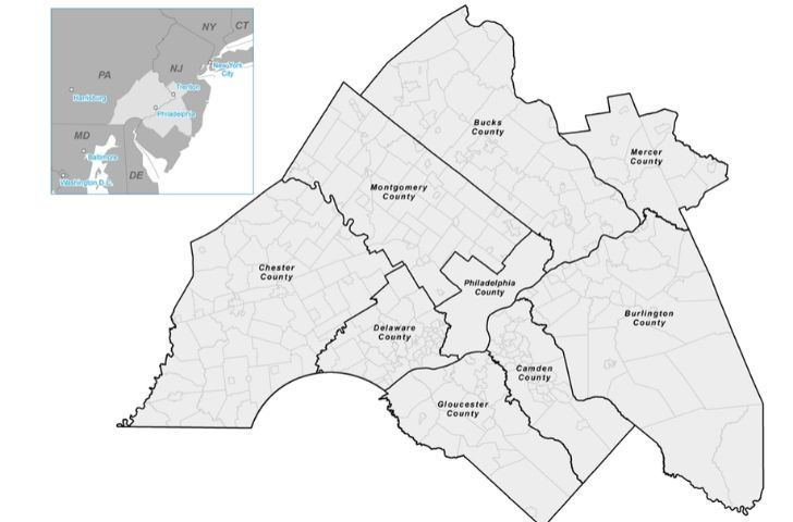 A map of the very few counties within Delaware State.