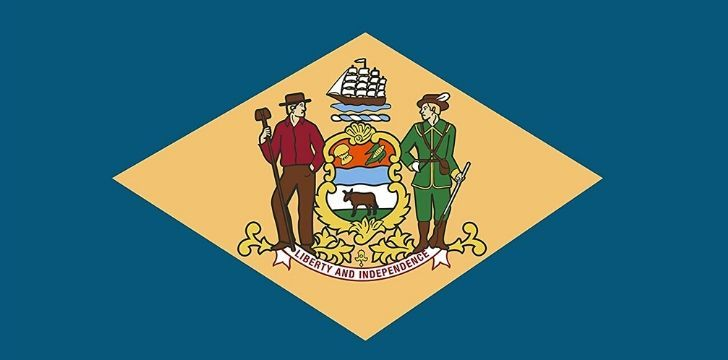 The official flag celebrating Delaware as First State of the United States of America
