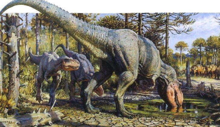 T-Rex drinking water.