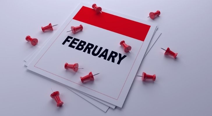 February calendar with pins