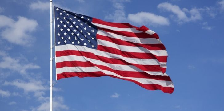 The American flag flying in the wind