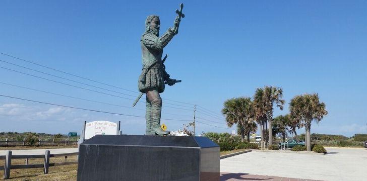 A statue of Spanish conquistador Juan Ponce de León