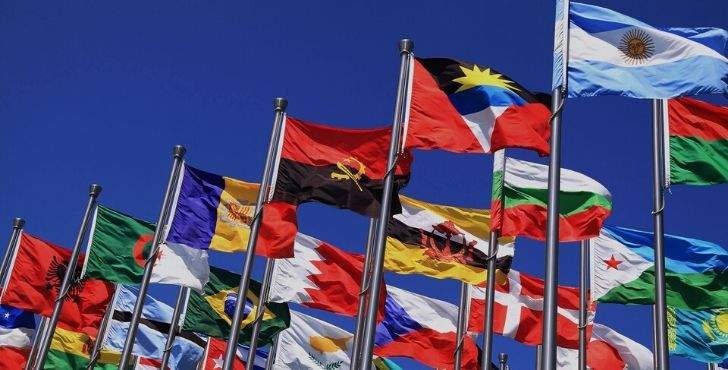 Various international flags