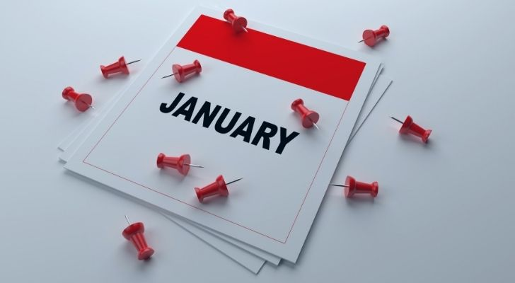 January calendar with pins