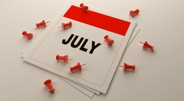 July calendar with pins