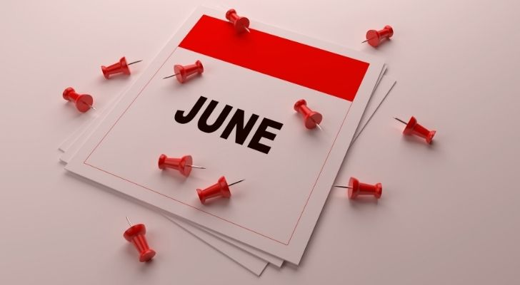 June calendar with pins