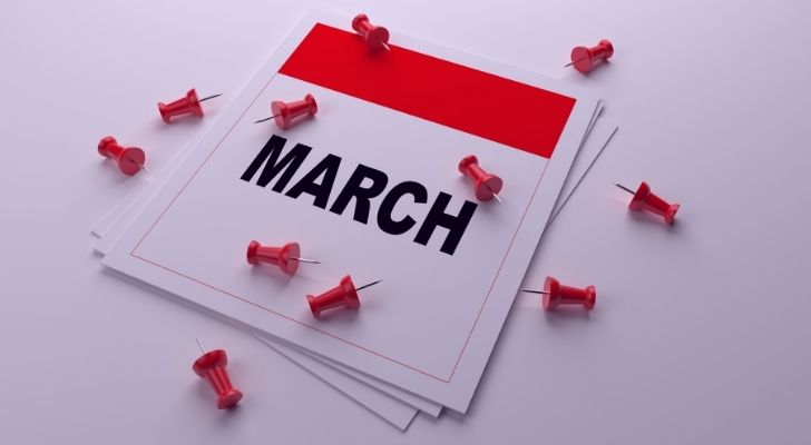 March calendar with pins