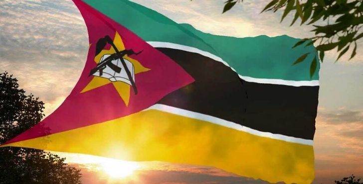 Flag of Mozambique showing firearms