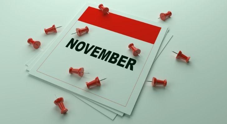 November calendar with pins