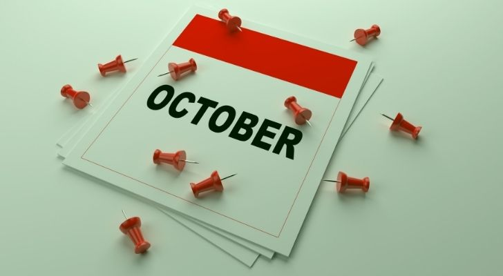 October calendar with pins