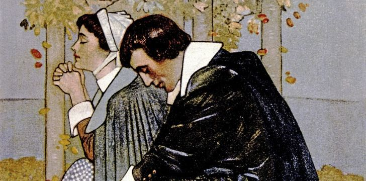Illustration of two puritans