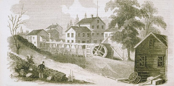 Illustration of small town in Connecticut