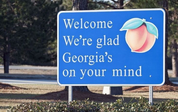 "A welcome sign with a picture of a peach and the words ""Welcome, we're glad Georgia's on your mind"""