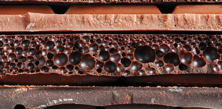 A closeup image of bubbly chocolate