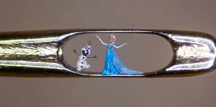 Willard Wigan's sculptures of characters from the movie Frozen