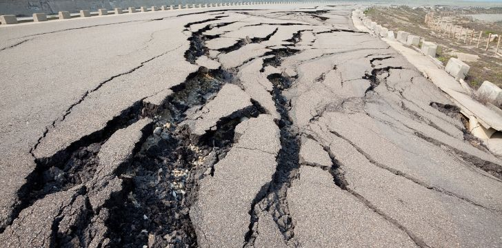Cracked asphalt roads