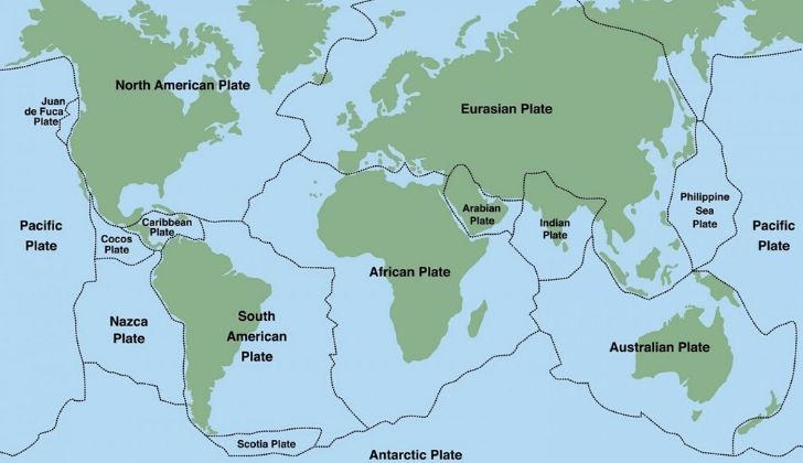 A map showing major tectonic plates around the world