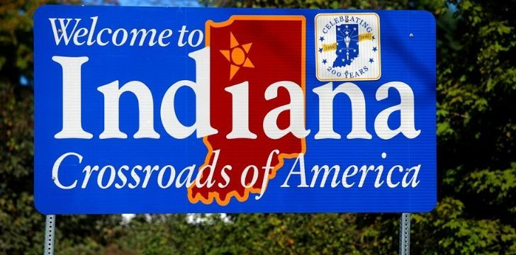 "An Indiana welcome sign that rads ""Crossroads of America"""