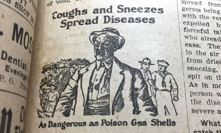 """A newspaper warning how """"coughs and sneezes spread diseases"""""""