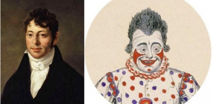 A picture of the first famous clown Joseph Grimaldi as himself and a as a clown