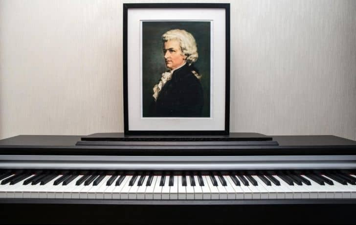 A piano with a photo of Mozart behind it on the wall