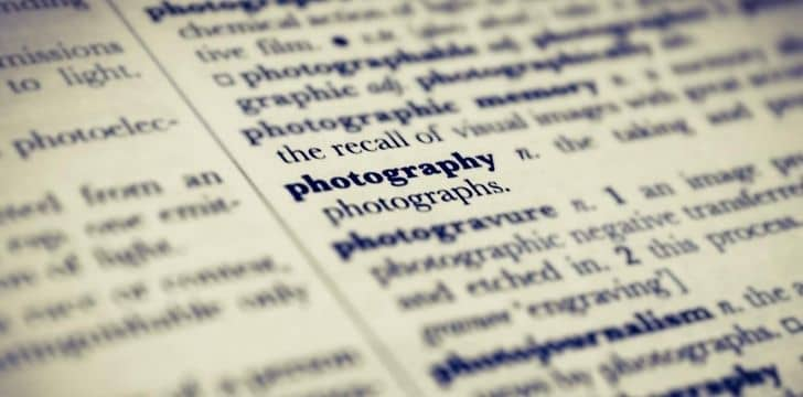 "A picture of the page in the dictionary highlighting ""photography"""