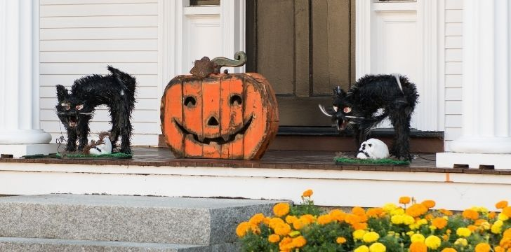 Two scary black cat decorations outside somebody's house