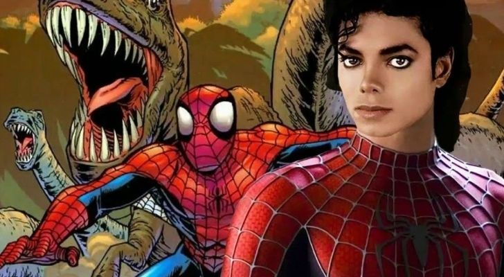 Michael Jackson wearing Spiderman outfit