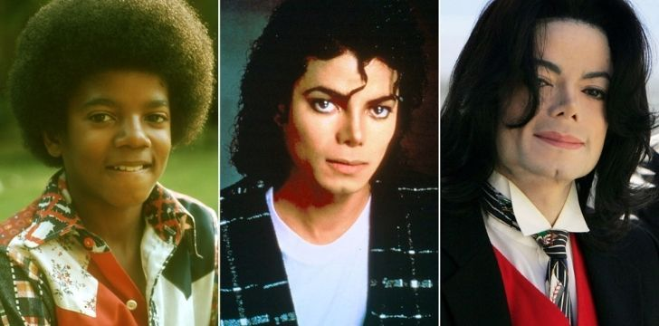Michael Jackson's skin changes throughout his life from darker to lighter