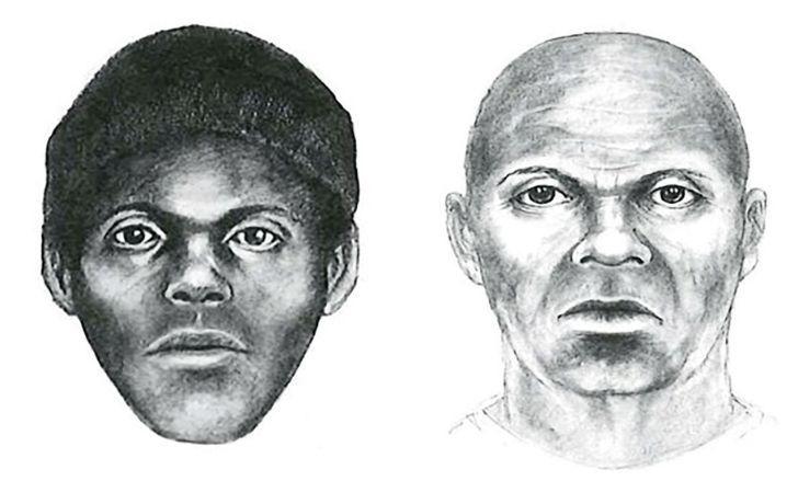 Two illustrations of The Doodler killer