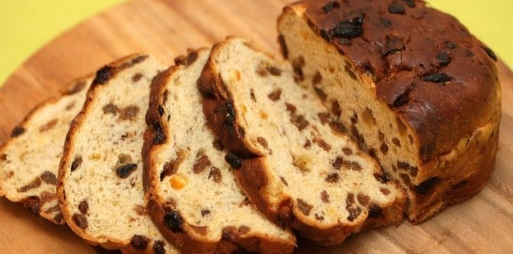 An Irish barmbrack cake with dried fruit inside