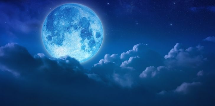 A blue moon changing the color of the whole sky