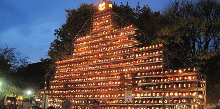 Thousands of Jack O' Lanterns all lit up