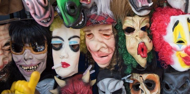 Lots of creepy face masks