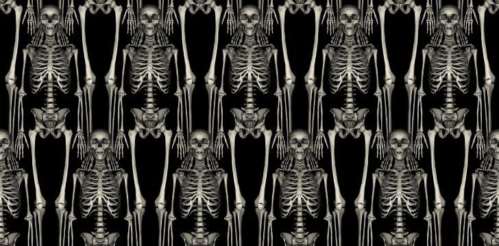Rows of human skeletons