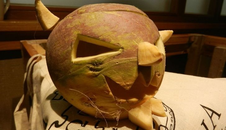 A devil carved into a turnip