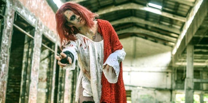A female zombie walker