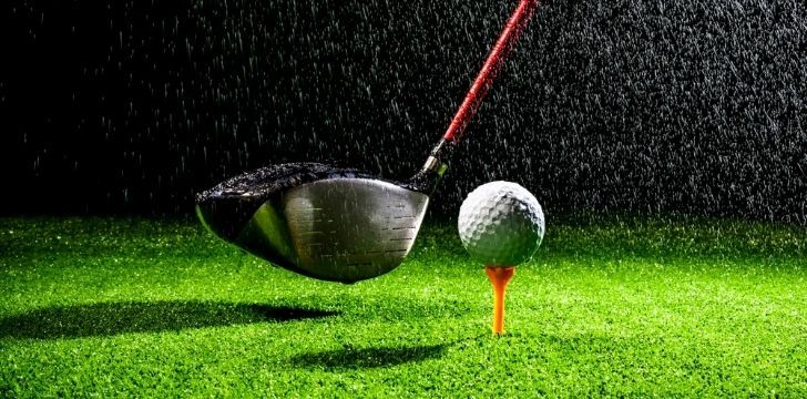 A golf ball in the rain