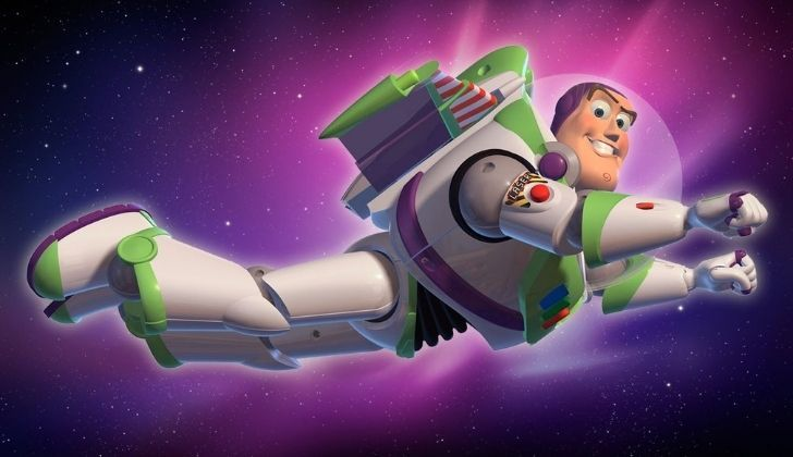Buzz Lightyear flying through space