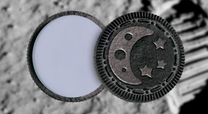 An Oreo with a moon on it