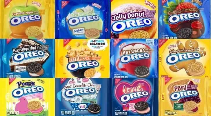 Many different packets of Oreos