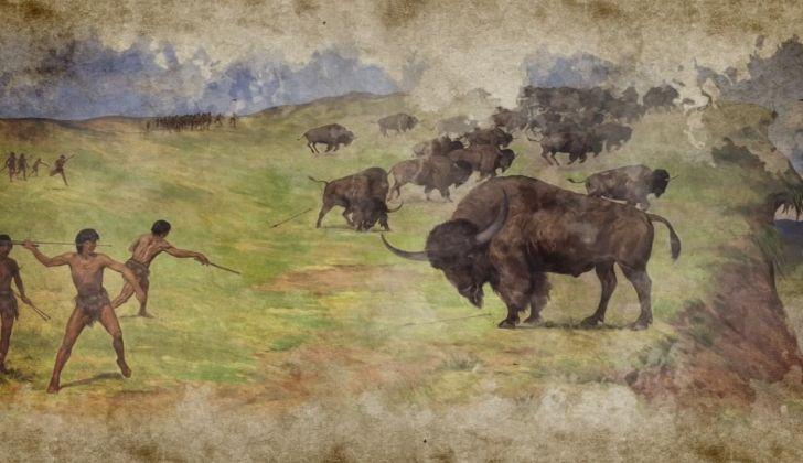 A painting showing Paleo-Indian people hunting for food