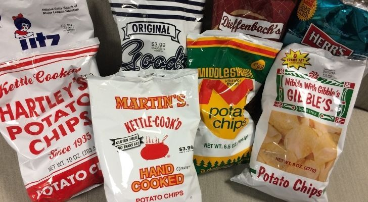 Different brands of potato chips in Pennsylvania