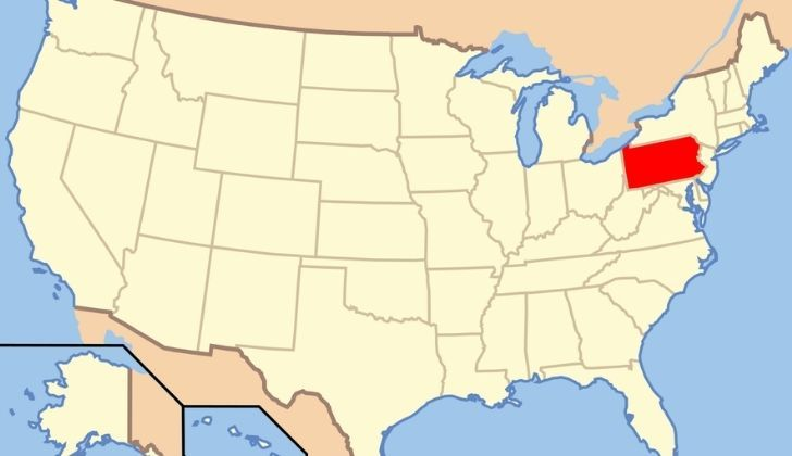 USA map with Pennsylvania highlighted