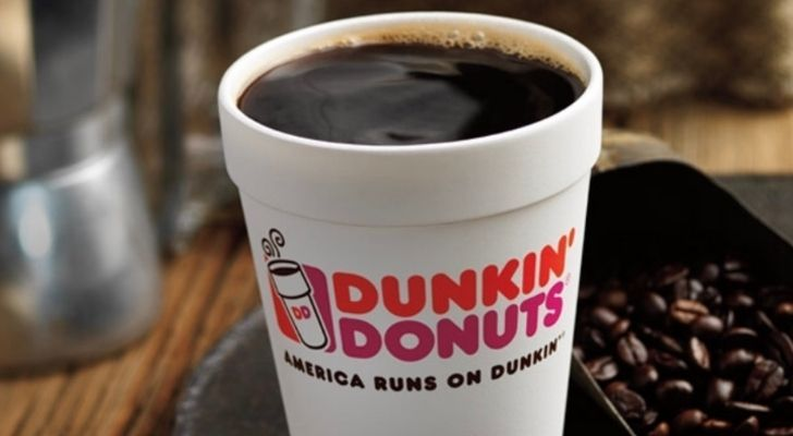 A nice hot cup of Dunkin Donuts coffee