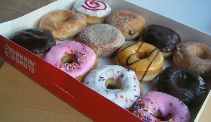 A whole tray of different Dunkin Donuts