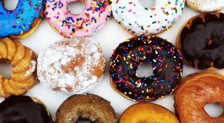 Many different colorful donuts