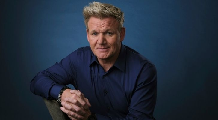 Gordon Ramsay shot with a blue background